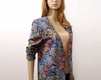 Vintage 1970s Multicolor Floral Jacket Tapestry Look Low Neck Blazer / Small