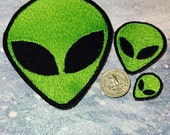 Green Alien  Patch, Embroidered  Tiny Alien  Custom UFO Iron on  Sew on Patch
