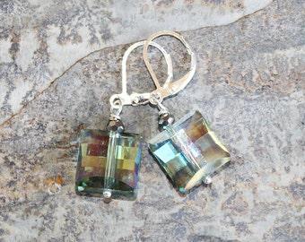 Light Green Earrings, Crystal Earrings, Sparkly Earrings, Square Earrings, Handmade Earrings, Holiday Earrings, Christmas Earrings