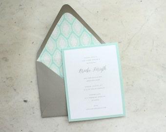 baby shower / sprinkle / bridal shower invitation - mint and grey trellis (gender neutral, girl or boy)