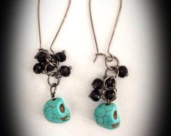 Turquoise Time - skull dangle earrings