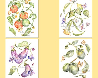 Set of 4 Kitchen Prints, Vegetable Prints, Gift For Mom, Kitchen Decor, Kitchen Watercolors, DIning Room Decor