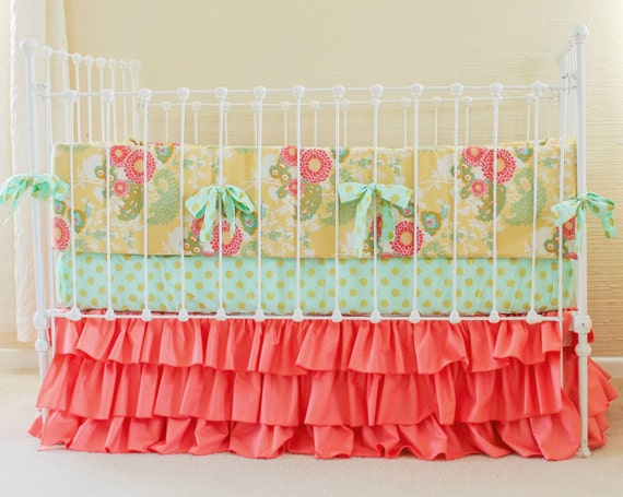 Coral, mint, & gold crib bedding