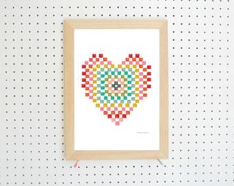 Digital Download Crochet Granny Heart Printable Art A4