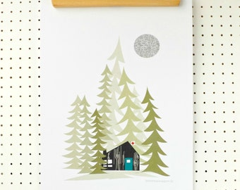 Log Cabin in the Woods Art Print A3 Alpine Poster