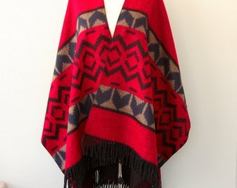 Red poncho Reversible mexican poncho Winter fashion Native poncho Tribal shawl Women outerwear Boho cape Vegan Winter wrap blanket shawl