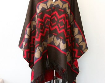 Black poncho Autumn fall fashion Native poncho Tribal shawl Women outerwear Boho cape Vegan Winter wrap blanket shawl