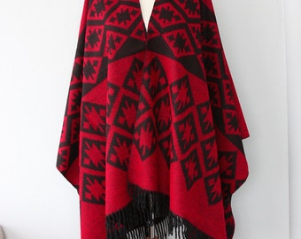 Red poncho Autumn fall fashion Aztec poncho Tribal cape Native outerwear Women ponchos Geometric poncho Boho shawl Bohemian winter wrap