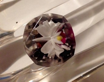 Vintage Orchid Reverse Carved Lucite Upcycled Ring Purple and White