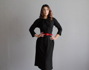 1950s Little Black Dress - Vintage 50s Silk Dress - Little Rock Silk Dress