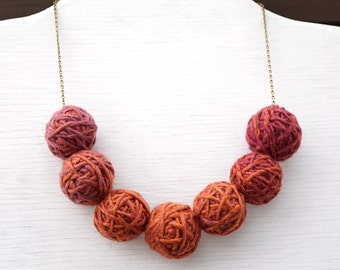 Summer Party Gift Kitten Necklace Mystery Yarn Necklace Ombre Thread Ball Necklace Bronze Chain with 7 Big Balls Earthy Colors Bib Necklace