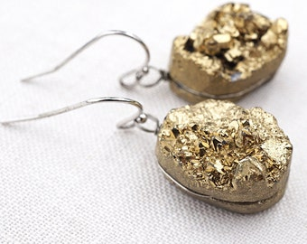 Gold Raw Druzy Stone Earrings, Small Gold Titanium Earrings, Hypoallergenic Nickel Free Jewelry for Sensitive Skin, Wire Wrapped Stone