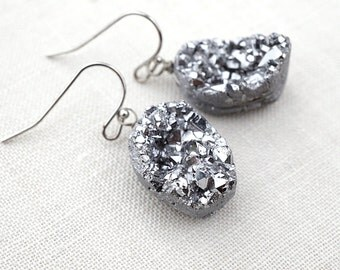 Raw Druzy Stone Earrings, Silver Titanium Druzy Earrings, Hypoallergenic Nickel Free Jewelry for Sensitive Skin, Wire Wrapped Earrings