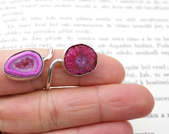 Sterling Silver Double Ring Size 7.5, Solar Quartz Ring, Stalactite Slice Ring, Druzy Ring, Raw Crystal Ring, Raspberry Pink Multistone Ring