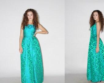 1960s Vintage Green Jacquard Gown   - Vintage 1960s Dress  - Vintage Cocktail Dresses   - WD04248