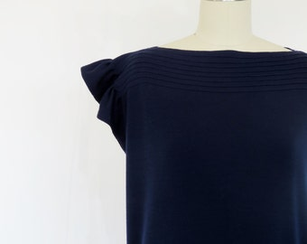 Vintage Geoffrey Beene Dress / 1970s Dress / 1980s Dress Designer Dress / Navy Blue Runway