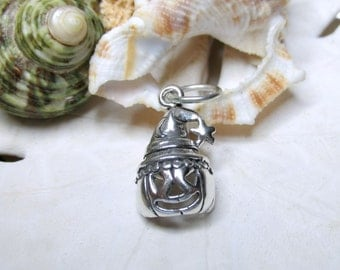 Sterling Silver Halloween Pumpkin Witch Charm Pendant 2.69g