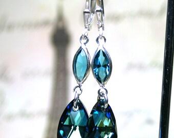 Bermuda Blue Teardrop Earrings - Long Blue Drop Earrings with Sterling Silver - Swarovski Crystal and Sterling Silver Leverbacks
