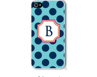 Personalized iPhone Case Custom Monogram Case iPhone 4 5 5s 5c 6 6s 6 Plus, Samsung Galaxy S4 S5 S6 Tough Phone Case Polka Dot Style 259