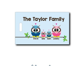 Owl Family....Personalized Luggage Bag Tag