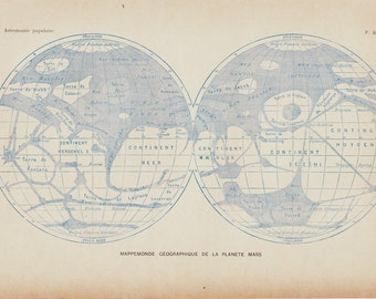 1908 Antique ASTRONOMY print, geographical map of Mars