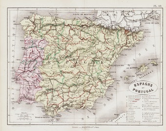 1872 Antique SPAIN and PORTUGAL map, historical map.