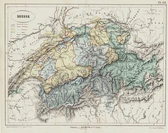 1872 Antique SWITZERLAND map, historical map.