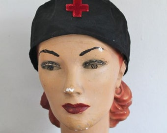 vintage 1910s / 1920s rare red cross hat - RED CROSS nurse / worker cap