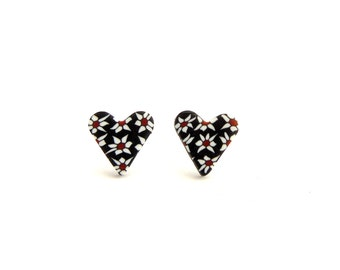 Heart Stud Earrings, Black and White Daisy Flowers, Hypo Allergenic, Stainless Steel, Polymer Clay Fimo, Supremily Jewellery