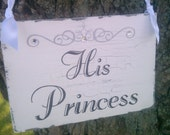 Prince & Princess Wedding Signs, Tiara, Crystals, in Silver or Gold LARGE