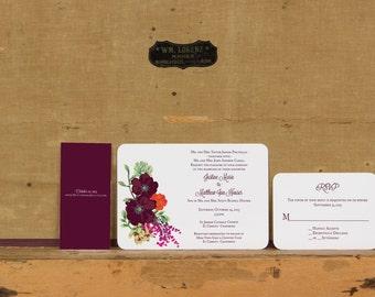 Rustic Floral Fall Wedding Invitation,Rustic Poppy wedding invitation,Rustic Fall Boho Wedding Invitation,Bright Floral Boho Wedding Invites