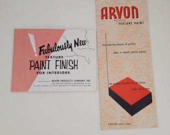 Vintage Arvon Texture Paint Brochures 1950s Color Chart Ad Booklet