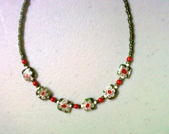 Green, Red and White Millefiori Choker (0958)