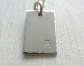 Letter Tag Necklace. Sterling Silver. Hand Stamped. Personalized Necklace. Custom Necklace. Graduation Gift. Mothers Day. Minimalist Jewelry
