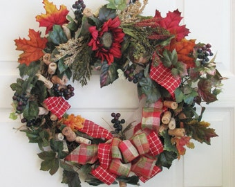 Wine Cork Wreath, Wine Country, Outdoor Door Wreath, Front Door Wreath, Year Round Wreath, Fall Wreath