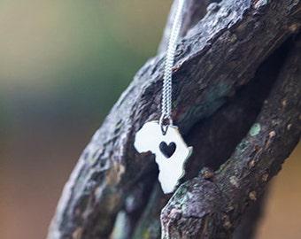 Sweet Silver Africa Heart Handmade Pendant Small