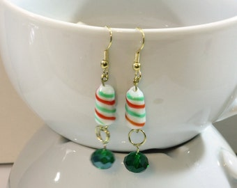 Green Candy Cane Earrings - Christmas Holiday Jewelry with Green Crystal Beads and Red, White and Green Candy Striped Beads - Sale