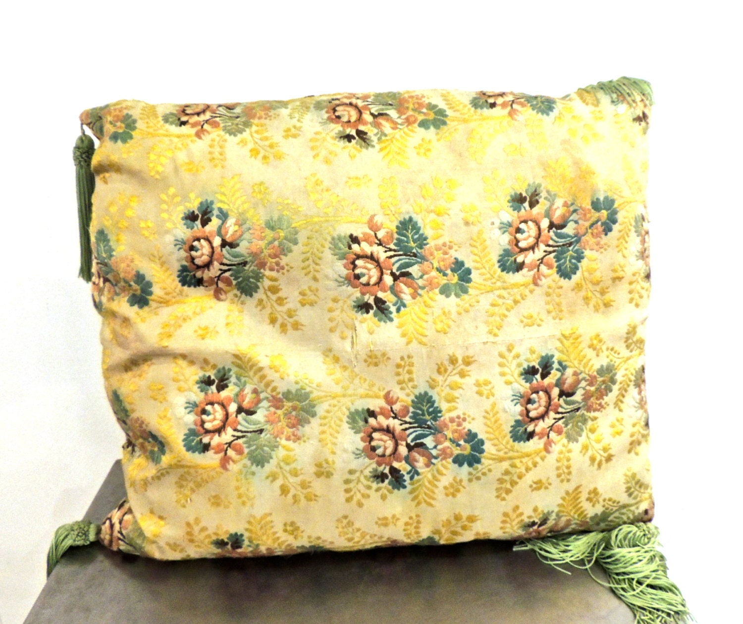 Vintage Silk Throw Pillow 1950s Embroidered Floral Large