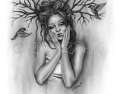 Nesting Thoughts Woman Flying Birds Tree Art Print Glossy Emo Fantasy Girl Zindy Nielsen