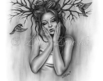 Nesting Thoughts Woman Flying Birds Tree Art Print Glossy Emo Fantasy Girl Zindy Nielsen