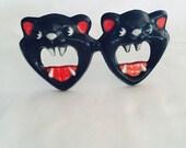 Black Cat Halloween Funglasses Fosta Foster Grant Costume Glasses