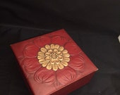Vintage Trinket Box Maroon Embossed Leatherette Smith Crafted Chicago