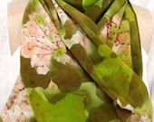 silk scarf Dried Hydrangea peach lime crepe large long unique luxury hand painted