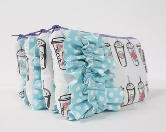 mini ruffled clutch -- floral coffee cups