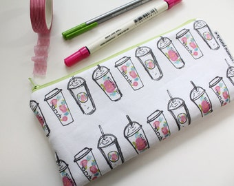 pencil pouch -- floral coffee cups