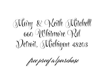Custom Address Stamp - Calligraphy Return Address Stamp  Self-inking or mounted with a handle. (20441)