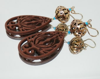 Laser Cut Wood and Bronze Filigree Earrings with Goldfilled Ear Wires