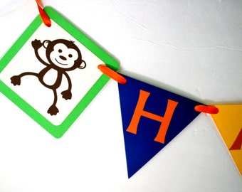 Jungle Banner, Handmade Animal Party Sign, Birthday Banner, Cute Baby Animal Sign, Zoo Jungle Birthday A1228