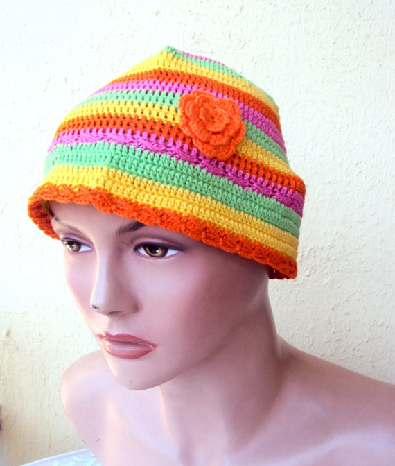 Sale Crochet Summer Hat Beret Beanie Multicolored %100 by ...