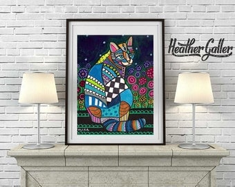CAT Folk art  Poster Print of  Painting  by Heather Galler Flowers (Hg271)